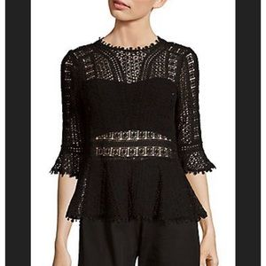 Rebecca Taylor Guipure Lace Peplum Top in Black -2
